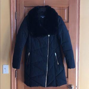 Guess winter jacket with black faux fur trim
